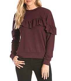Eyeshadow Ruffle Front Pullover Sweater