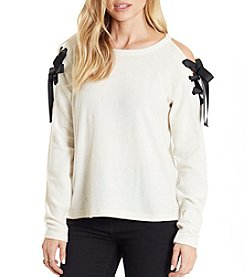 Eyeshadow Cold Shoulder Lace Up Pullover Sweater