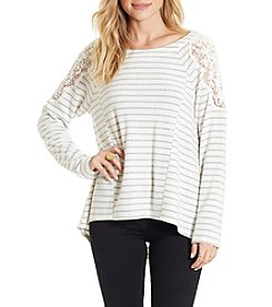 Eyeshadow Stripe Crochet Shoulder Pullover Top