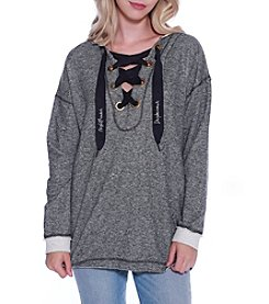 Skylar & Jade by Taylor & Sage Lace Up Pullover