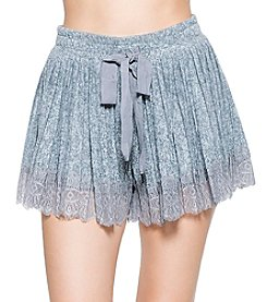 Skylar & Jade by Taylor & Sage Pleated Brushed Texture Lace Hem Shorts