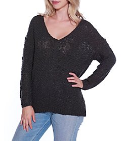 Skylar & Jade by Taylor & Sage Destructed Detail Crochet Sweater