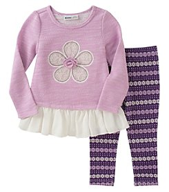 Kids Headquarters Girls' 2T-4T 2 Piece Long Sleeve Terry Tunic And Leggings Set