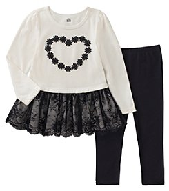 Kids Headquarters Girls' 2T-4T Long Sleeve Lace Hem Tunic And Leggings Set