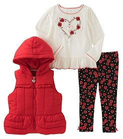 Kids Headquarters Girls' 2T-4T 3-Piece Puffer Vest Top And Leggings Set