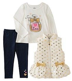 Kids Headquarters Girls' 2T-4T 3 Piece Bow Vest Shirt And Leggings Set