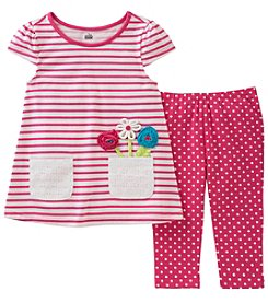 Kids Headquarters Girls' 2T-6X Striped Short Sleeve Tunic And Polka-Dot Capris Set