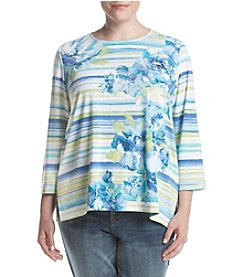 Alfred Dunner Plus Size Watercolor Striped Floral Top