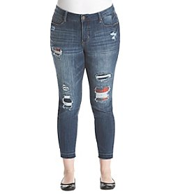 Ruff Hewn Plus Size Flannel Rip Repair Denim Jeans