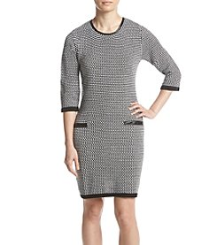 Studio Works Petites' Pattern Front Pocket Sweater Dress