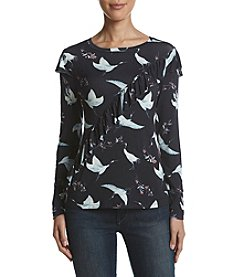 Ruff Hewn GREY Diagonal Ruffle Bird And Floral Pattern Top