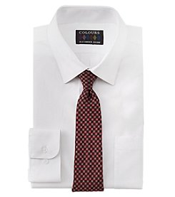 Alexander Julian Men's Heart Solid Button Down Shirt And Tie Set