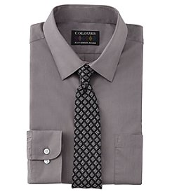 Alexander Julian Men's Solid Button Down Shirt And Tie Set