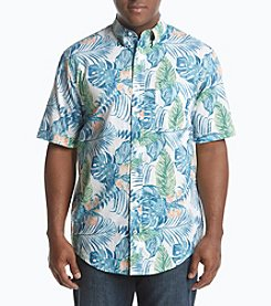 IZOD Men's Big & Tall Dockside Palm Leaf Chambray Shirt