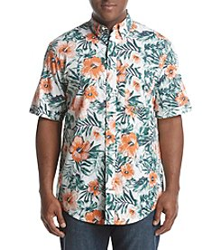 IZOD Men's Big & Tall Dockside Hibiscus Chambray Button Down