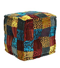 LB International Velvet Patchwork Pouf
