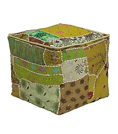 Elements Square Patchwork Pouf