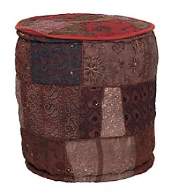 Elements Round Embroidered Pouf