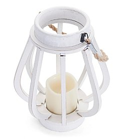 Elements Wood Rope LED Candle Lantern
