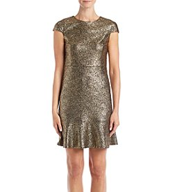 MICHAEL Michael Kors Petites' Metallic Foil Ruffle Hem Dress
