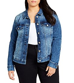 William Rast Plus Size Acid Wash Detail Denim Jacket