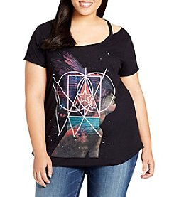 William Rast Plus Size Riot Cutout Celestial Girl Top