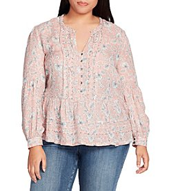 William Rast Plus Size Pintuck Paisley Peasant Top