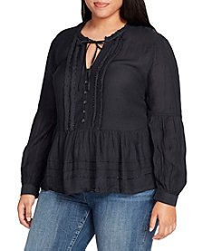 William Rast Plus Size Pintuck Solid Peasant Top