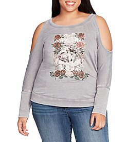 William Rast Plus Size Whitney Cold Shoulder Graphic Sweater Top