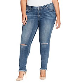 William Rast Plus Size Perfect Skinny Frayed Hem Cuff Jeans