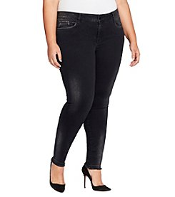 William Rast Plus Size Perfect Skinny Fray Hem Black Wash Jeans