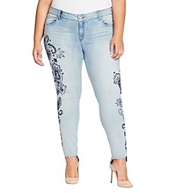 William Rast Plus Size Perfect Skinny With Studs And Distressed Jeans