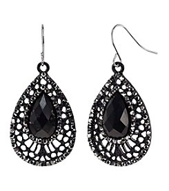 Relativity Fish Hook Black Filagree Teardrop Earrings