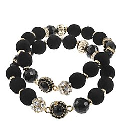 Relativity Two Row Velvet Ball Stretch Bracelet