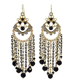 Relativity Fish Hook Black and Goldtone Tassel Earrings