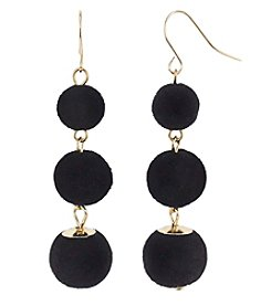 Relativity Fish Hook Three Velvet Ball Drop Earrings