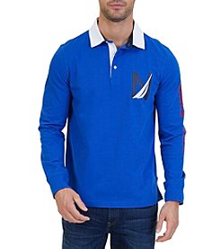 Nautica Men's Big & Tall Rugby Long Sleeve Polo Shirt