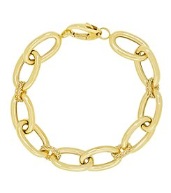 14K Yellow Gold Polished Oval Link Bracelet with Popcorn Stations