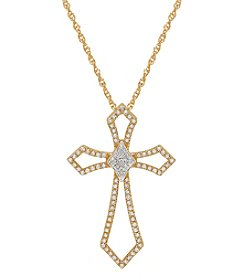 10K Yellow Gold 0.25ct Cross Pendant Necklace