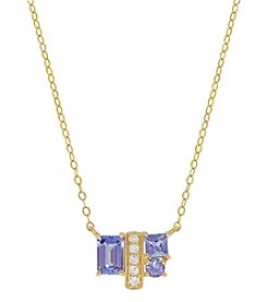 10K Yellow Gold Tanzanite and White Topaz Necklace