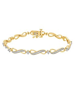 10K Yellow Gold 0.25ct Diamond Diaura Link Bracelet