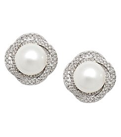 Sterling Silver Freshwater Pearl Stud Earring with 0.024CT Diamond Accent