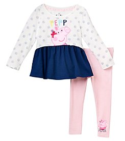 Peppa Pig Girls' 2T-6X Peppa Pig Polka Dot Long Sleeve Top And Leggings Set