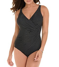 Miraclesuit Dot Printed Wrap One Piece Suit