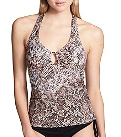 Calvin Klein Ring And Stud Detail Snake Print Tankini Top