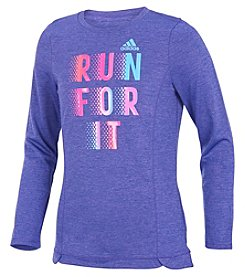 adidas Girls' 2T-6X Long Sleeve Winning Vibes Melange Tee