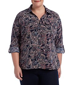 Studio Works Plus Size Printed Button Front Shirt