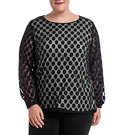Nine West Plus Size Sheer Dot Blouse