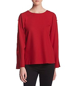 Kensie Slit Detail Bell Sleeve Top