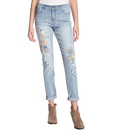 Black Daisy Katie Cuff Floral Embroidered Destructed Jeans
